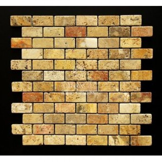Scabos 1 X 2 Tumbled Travertine Brick Mosaic Tile by Oracle