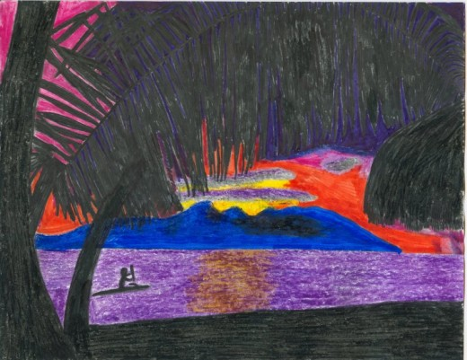 Use images of Polynesian sunsets and palm trees to decorate your stationery. Credit: Drawing by Sweetiepie on Hubpages.