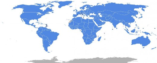The member nations(blue) and non-member nations(grey).