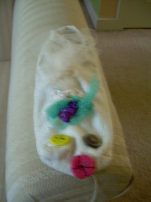 """Betty Lou"" sock puppet, which my daughter and I created together 2 years ago and continue to enjoy playing with often"