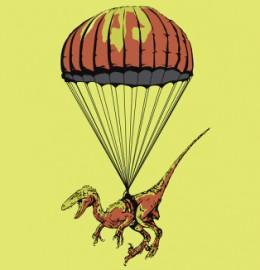 parachuting velociraptor raptor paratrooper skydiving