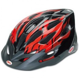 Bell Alibi Youth Helmet model shown Black with Red Flames.