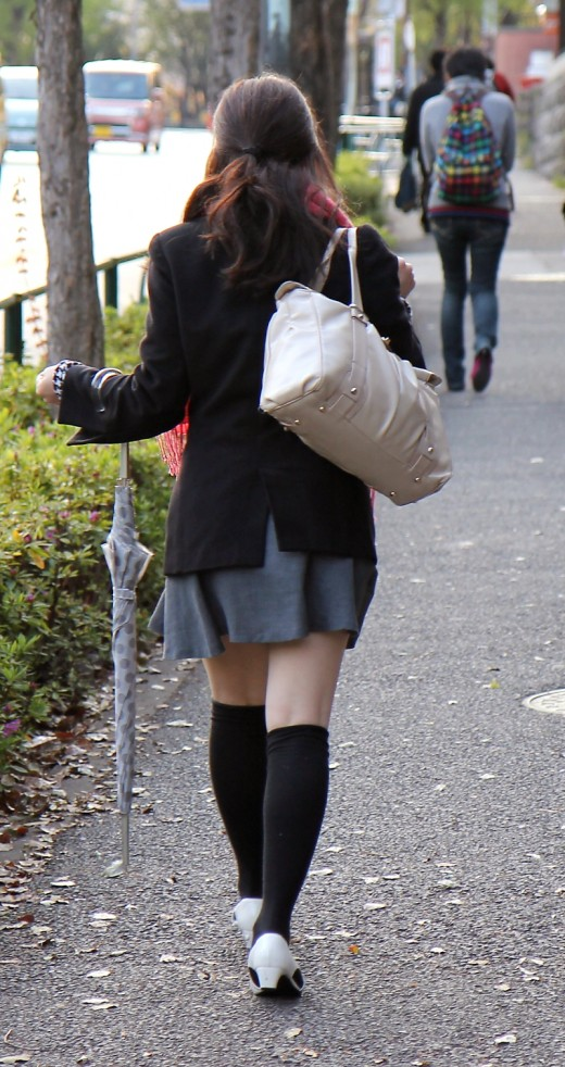 Long socks are an essential fashion item for the stylish Japanese office lady