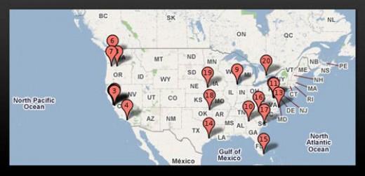Google data center map in North America