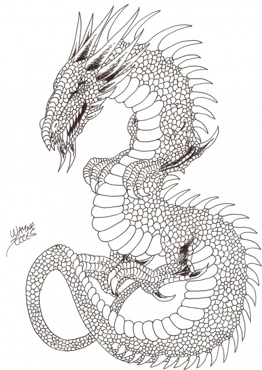 How to draw a dragon serpent final ink drawing - Finished ink drawing of our serpent dragon.    Serpent dragon art Copyright Wayne Tully 2010.