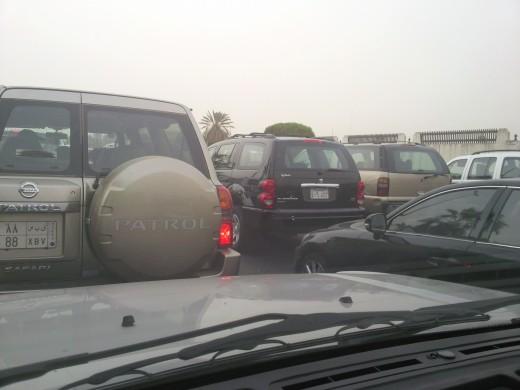 Traffic Queues when driving in Saudi Arabia