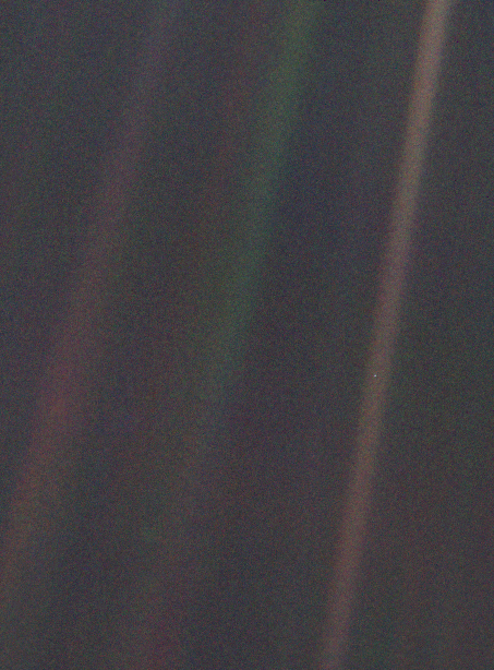 This photo taken by Voyager of the inner solar system, shows Earth as a small blue dot. It's hard to see in this format so it is recommended to have a better look in NASA voyager files. You may notice that there is a band of dust in which the Earth i