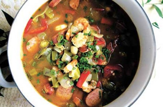 Have you ever tasted Gumbo? Pictured is Chicken and Sausage Gumbo with Shrimp and all kinds of other wonderful things.