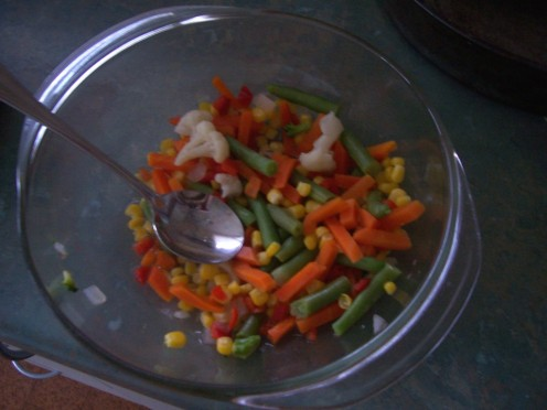 StirFry Vegetables or Mixed vegies microwaved...