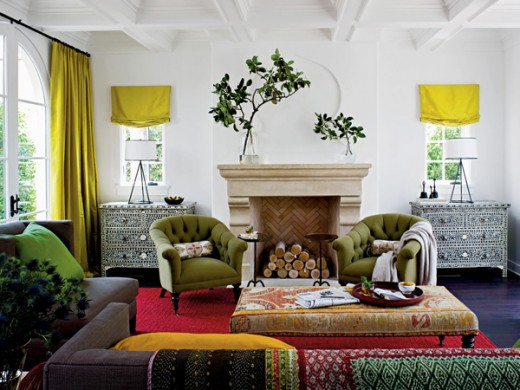 example of a room with a great mix of patterns