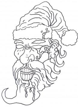 Draw a zombie Santa face sketch 4 - Inked Santa Zombie.