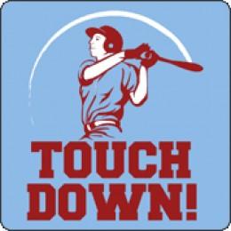 touchdown baseball player swinging satire