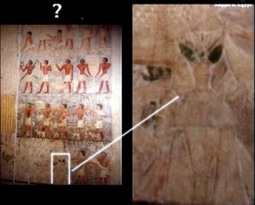 I'm not sure at all about this one. It apparently shows something which could be taken as extraterrestrial in amongst the other hieroglyphs.