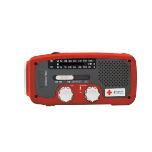 Etn American Red Cross ARCFR160R Microlink Self-Powered AM/FM/NOAA Weather Radio with Flashlight, Solar Power and Cell Phone Charger (Red)