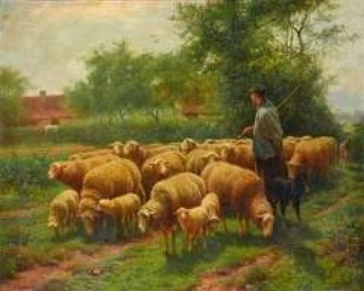 Shepherd with Flock, by Frans De Beul. From arcadja.com
