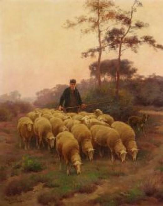 Frans De Beul - Schfer Mit Seiner Herde. From arcadja.com