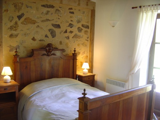The gite has two double room and a room with three single beds.