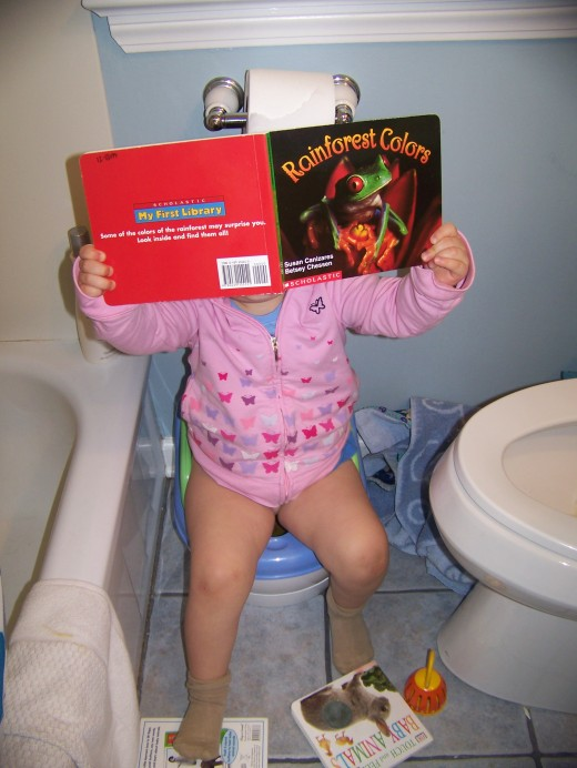 Toddler toilet training is a long process.