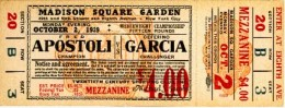 A ticket to that fateful day when Garcia KOed World Middleweight Champion Apostoli with his dreaded bolo punch. And he did this being a natural welterweight.