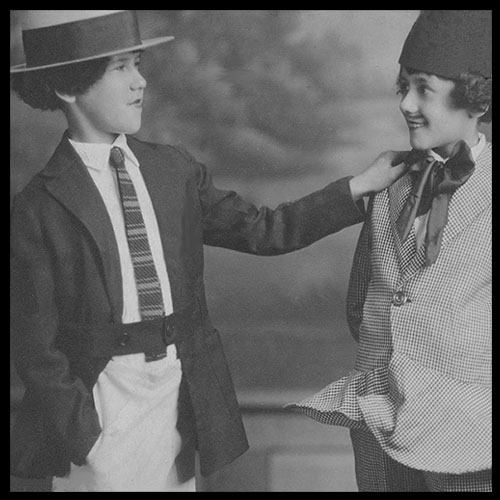 """Two very young Marx brothers portray Gallagher and Shean (their Uncle Al). From a collection exhibited at """"Minnie's Boys"""" in the mid-1970s, Reynoldsburg OH."""