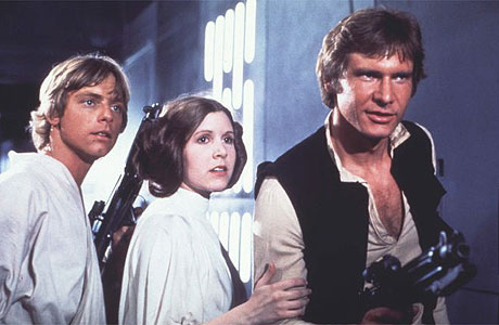 Mark Hamill, Carrie Fisher and Harrison Ford in Star Wars