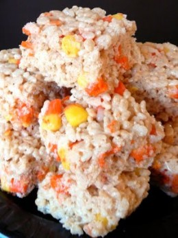Halloween Food Ideas - Candy Corn Rice Krispies Treat