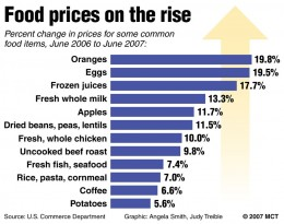 Other food prices are on the rise as well due to a variety of weather and man made problems.