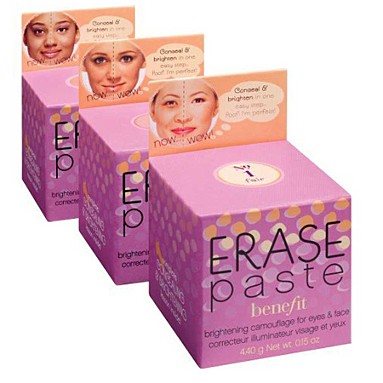 Benefit Cosmetics Erase Paste - Available is available light, medium and dark for every skin tone's under eye circles and blemishes!