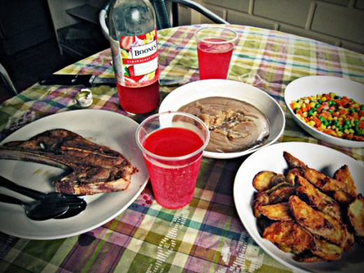 The food we prepared that day along with the lamb chops
