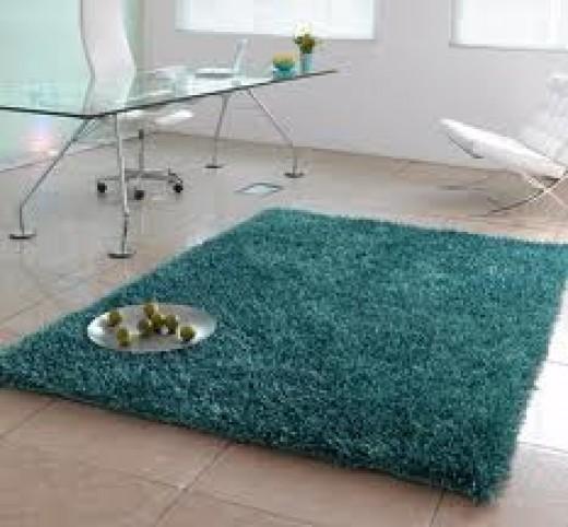 Teal area rug