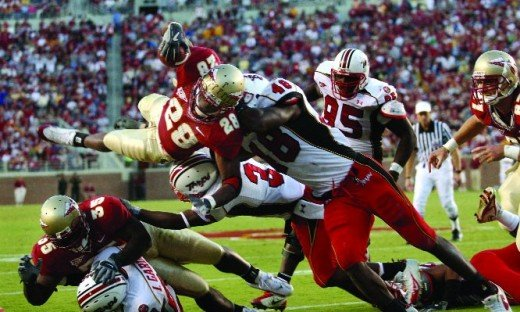 2010 Florida State Seminoles big games (at Oklahoma, at Miami,Fl, vs North Carolina, vs Clemson and vs Florida)