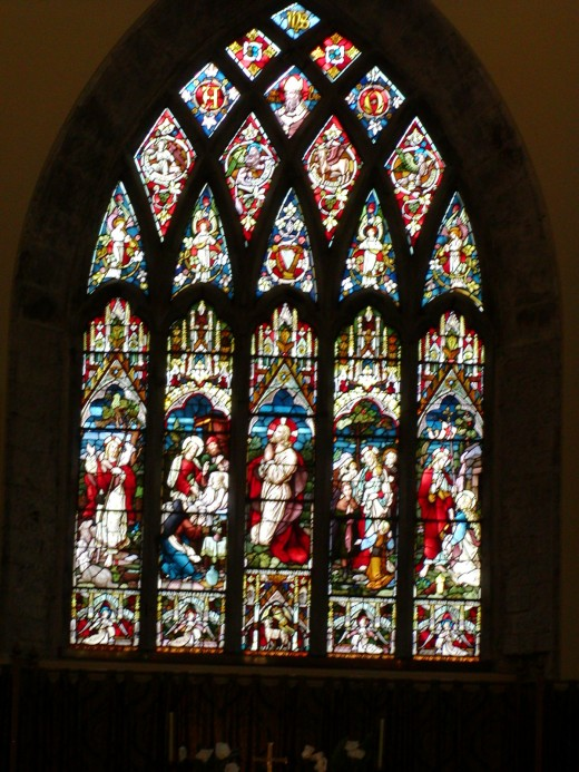 Gothic style stained-glass church window