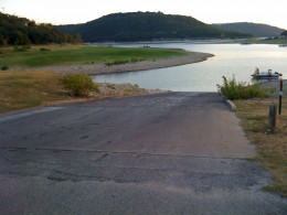 The boat ramp is getting longer.