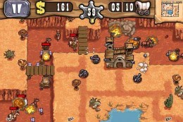 Guns n' Glory, defend the canyon against peaceful settlers. Screenshot courtesy of Androlib.com