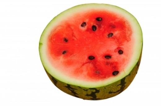 Watermelon sliced in half.