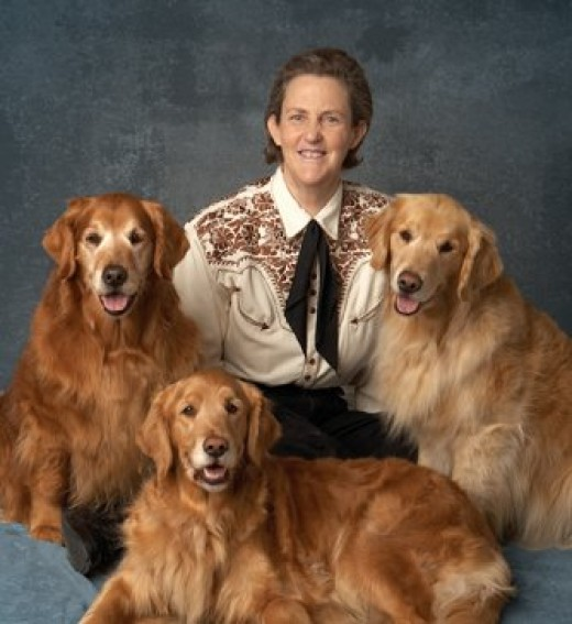 Temple Grandin surrounded by the animals she loves.