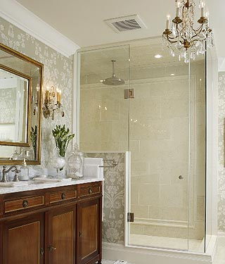 Crystal Wall Sconce and Chandelier in a Bathroom
