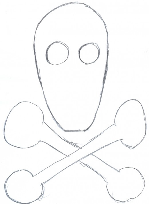 Drawing a skull and crossbones development sketch, shaping the skull and the bones.