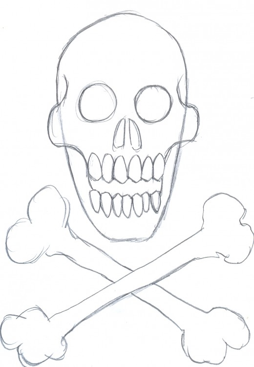 Drawing a skull and crossbones. Creating skull features and details.