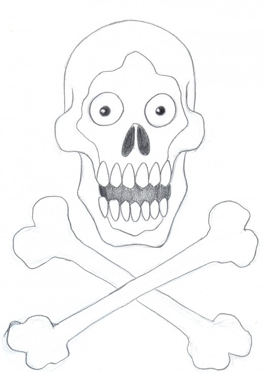How to draw a skull and cross bones. Finishing off the dark pencil work on the skull and cross bones.