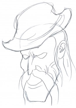 Draw a mad hill billy, sketching the rest of the face, some minor details and drafts.