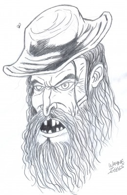 How to draw a mad hill billy. Final pencil drawing with a darker pencil.