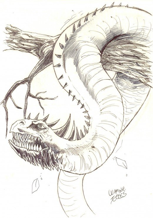 Drawing a dragon serpent.    Art Copyright waynetully.com