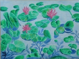 Lotus in a local lake that was painted in Acrylic by myself in a water colorist fashion.