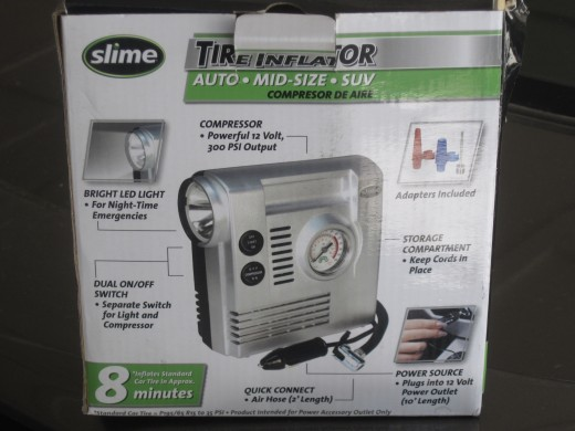 Back of box containing portable tire inflator