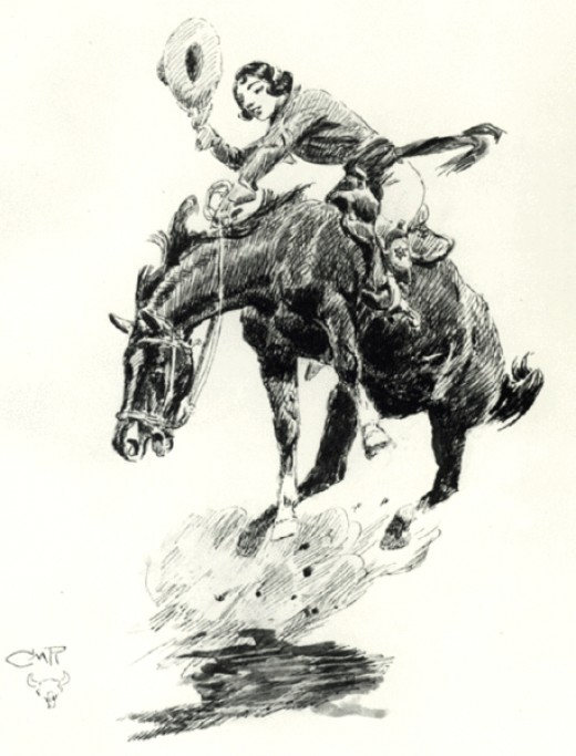 Rodeo Cowgirl by C.M. Russell. (public domain)