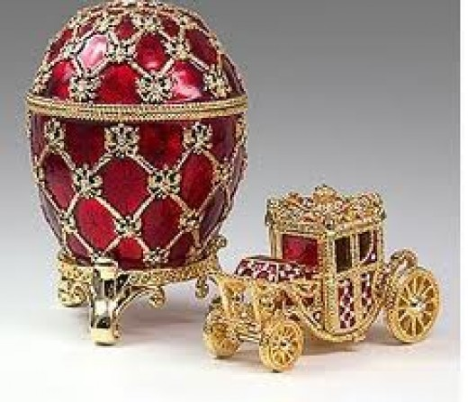 Faberge red egg and carriage