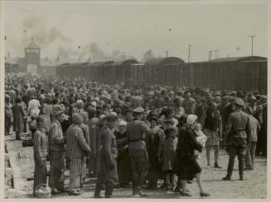 """Selection"" on the Judenrampe, Auschwitz, May/June 1944. To be sent to the right meant slave labor; to the left, the gas chambers. This image shows the arrival of Hungarian Jews from Carpatho-Ruthenia, many of them from the Berehov ghetto. It was tak"
