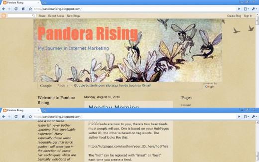 """Pandora Rising Blog previous page on Blogspot"" Screenshot. HubPage Name = Pandora's Box (http://pandorarising.blogspot.com/)"