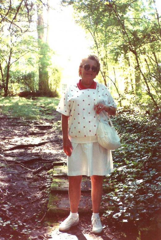 My mother at Rowan Oak